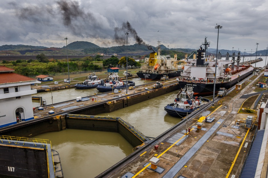 A ship docked at the Panama Canal.